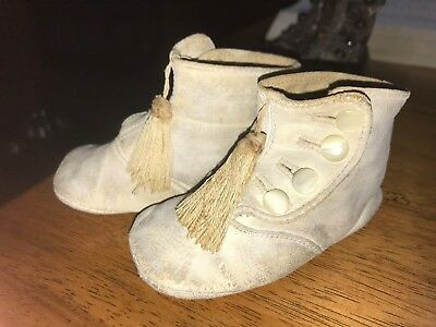 Antique Victorian Baby Toddler Children's Shoes White Leather Tassel   Button Up