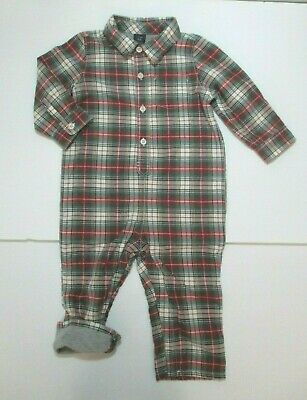 New Nwt Boys Baby Gap Red & Green Plaid Jersey Lined Longall Outfit Size 18-24 M
