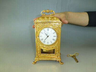 Antique / Vintage German Gold Gilt Case Mechanical Carriage Swing Pendulum Clock