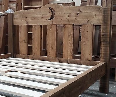 Handmade Rustic Rough Sawn Chunky Pine Bed Frame Low Toe - Heart Moon Star