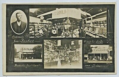 1907 Rp Npu Postcard Advertising Fasher's Bookshop & Tobacconist Hay Nsw A15