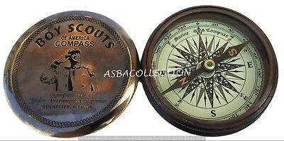Brass Compass Antique Nautical Vintage Style Engraved Brass Compass Boy Scouts