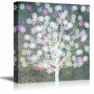wall26 - Canvas Wall Art Abstract Ink Tree Painting Artwork - 24x24 inches