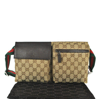 fcc75766eaf6 F99 GUCCI Authentic Sherry Webbing Waist Pouch Bumbag Belt Bag Fanny Pack  Brown