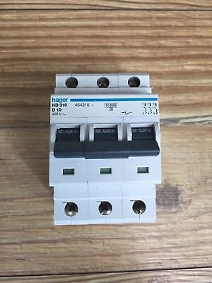 Hager 10 Amp Type D Circuit Breaker Mcb ND310 3 Phase Pole