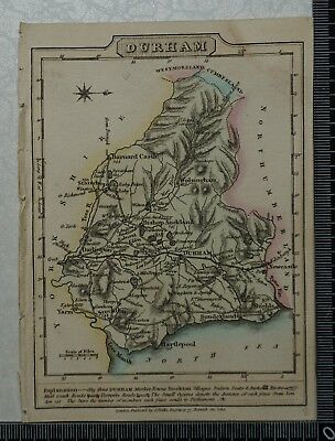 1810 Antique Map of Durham County engraved by J. Wallis
