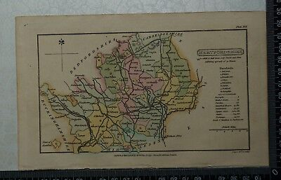1808 Antique Original Hand Coloured Capper Map of Hertfordshire