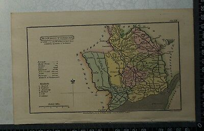 1808 Antique Original Hand Coloured Capper Map of Monmouthshire
