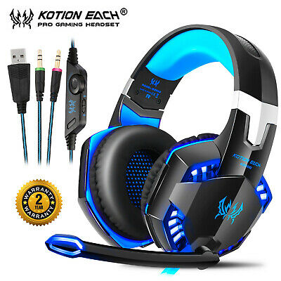 3.5mm Gaming Headset G2000 MIC LED Stereo Headphones For PC Laptop PS4 Xbox One