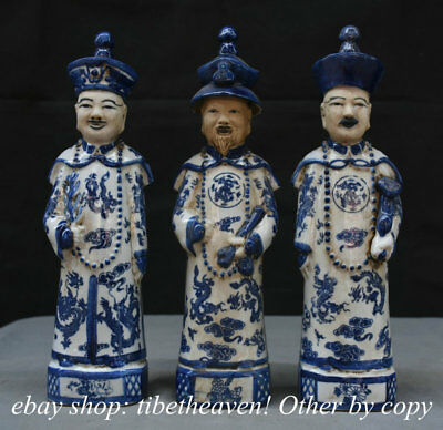 """12"""" Old Chinese Blue White Porcelain Stand 3 Emperor Civil Official Statue Set"""