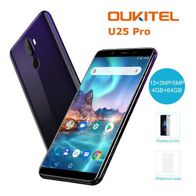 "5.5"" 2.5D Oukitel U25 Pro 4+64GB OctaCore Android 8.1 4G LTE Smartphone Touch ID"