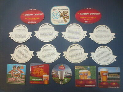 16 different CARLTON DRAUGHT / A.F.L. Approved BEER COASTERS