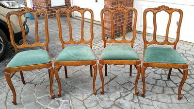 Louis XV Style Vintage French Carved oak set of 4 chairs
