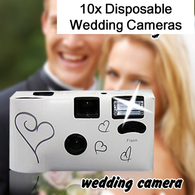 10x Wedding Guest Cameras 27 Exposure Flash and Table Card Party Birthday Favors