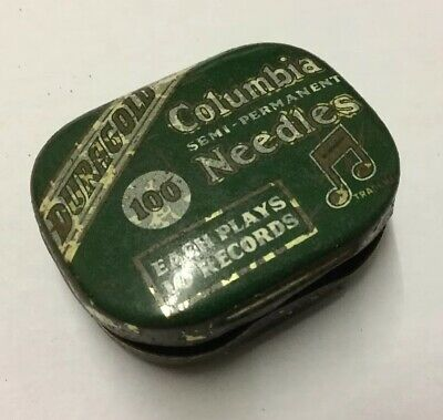Vintage Columbia Gramaphone Needles Tin With Some Needles Semi Permanent