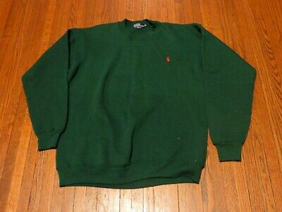 Men's VTG 80's 90's Polo Ralph Lauren Green Crew Neck Sweatshirt sz XL