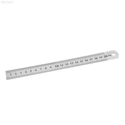 "2DD1A0B Stainless Steel Metal Ruler 20cm 8"" Inch Metric Imperial Scale Measuring"