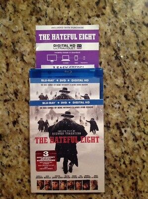 The Hateful Eight (Blu-ray/DVD, 2016, 2-Disc Set,Digital)Authentic US Release