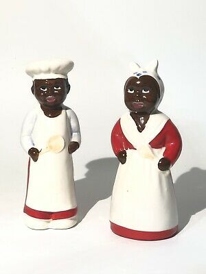 Vintage hand painted Black Americana Salt and Pepper Shaker Set Beautiful Chase