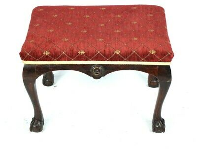 Antique Mahogany Foot Stool with Ball and Claw Feet - FREE Shipping [5145]