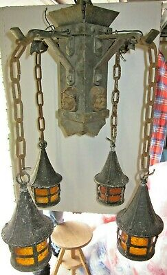 antique B&H chandelier light fixture MONKS HEADS Arts & Crafts Mission Bungalow