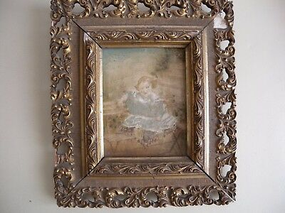 Small Antique painting of child with Gilt Gesso ornate frame circa 1850's