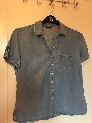ca3f4c65c9 LADIES M S CHAMBRAY Blue Denim Look Shirt Size 12 -  5.20
