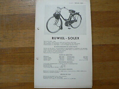Solex Rijwiel  1949 Onwards Service And Repair Guide Mofa Moped Snorbromfiets