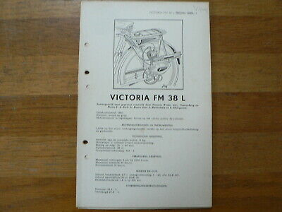 Victoria Fm 38 L 1950 Onwards Service And Repair Guide And Part List Moped Mofa