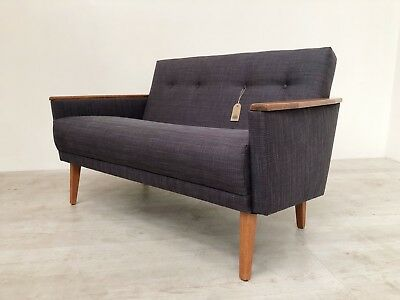 Vintage Danish Inspired Mid Century 50S 2 Seater Cocktail Sofa Settee In Teak