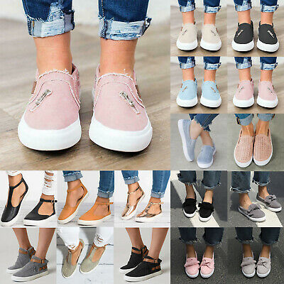 Womens Pumps Slip On Ladies Casual Flat Trainers Loafers Comfy Summer Shoes Size