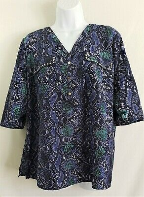 38a6aff28ef505 ELEMENTZ Purple Green Snake Print Roll Tab Sleeves Blouse Top Womens Size 1X