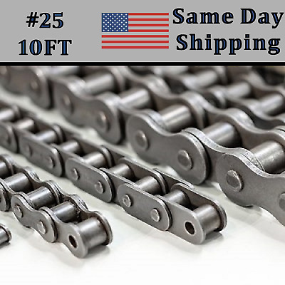 #25 Roller Chain 10 FT FEET + 2 Free Connecting / Master Link  Same Day Shipping