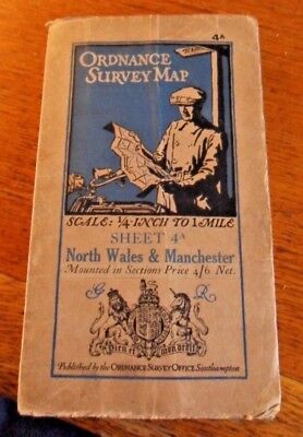 Vintage Ordnance Survey Map of North Wales and Manchester c1930 - O/S Sheet 4