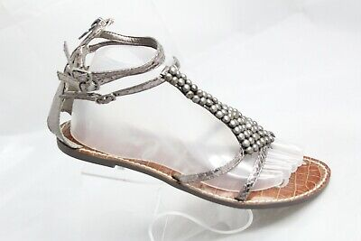 65d3848770f Sam Edelman Ginger Women s Sz 8.5M Metallic Snake Print Beaded Gladiator  Sandals