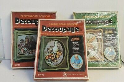Lot of 3! Decoupage Kits, 3 Dimensional Boutique, Model #49205, 49206 & 49201