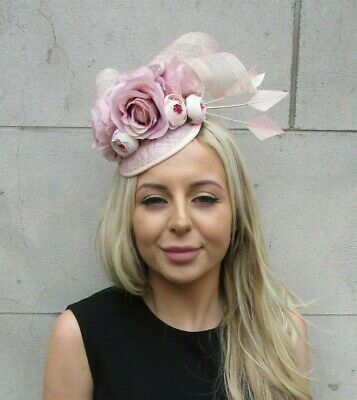 Light Blush Nude Pink Rose Flower Feather Hat Hair Fascinator Races Wedding 7207