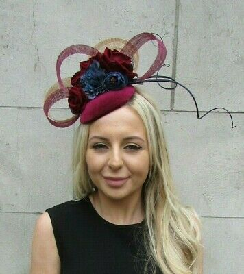 Navy Blue Burgundy Wine Red Gold Rose Flower Feather Hat Hair Fascinator 7210