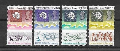 British Antarctic Territory 1971 Tnth Anniv of Antarctic Treaty Sg38-41 MNH/UMMd
