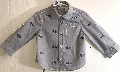 First Impressions Baby Boy 24M Shirt Long Sleeve Button Down Blue/White Stripes