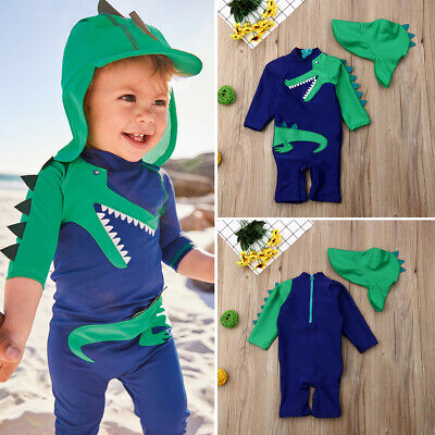 UK Baby Kids Boy Summer Beach Swimwear Swimsuit Swimming Costume Trunks+Hat Set