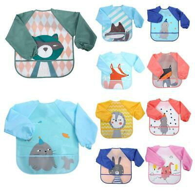 Long Sleeve Baby Bibs Waterproof Bib Bandanna Towel Infant Burp Cloths Feeding