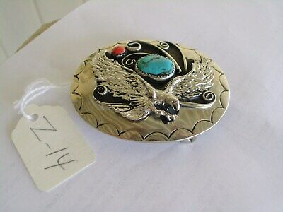 Belt Buckle Eagle 1-Turquoise 1-Coral Southwest Usa Handcrafted Nos Z-14