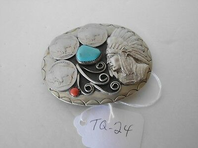 Belt Buckle Indian Chief 1-Turquoise 1-Coral 3- Buffalo Nickles Nos Tq-24 G4
