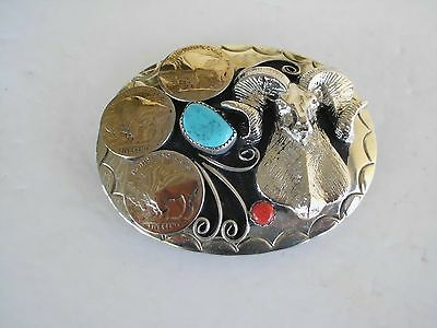 Belt Buckle 3 Nickles 1-Turquoise 1-Coral  Ram Southwest Made In Usa G-20 Gfd