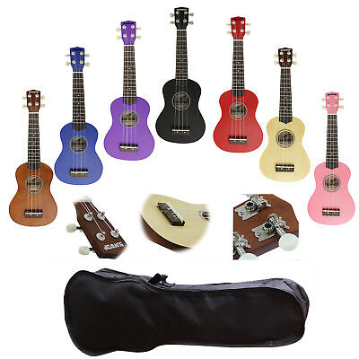 SUNWOLF Classic Beginners Soprano Ukulele Hawaii Solid Instrument + Free Bag