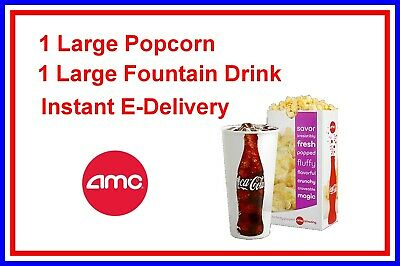 AMC Theatres 1 LARGE Popcorn and 1 LARGE Drink  exp. 6/30/20 Instant delivery