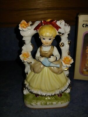 Vintage Porcelain Figurine Cherry Girl Glazed Girl With Arch Arch Flowers Gold