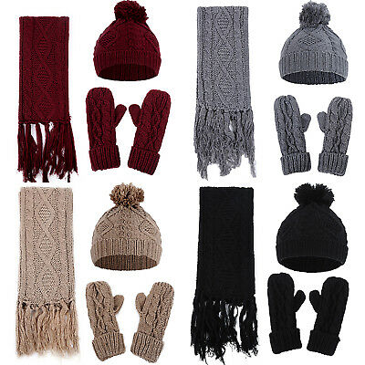 Women Ladies Woolly Knit Beanie Hat Scarf And Gloves Mittens Set Knitted Winter