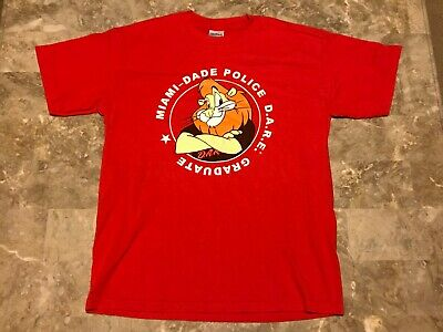 6fa6d8d56132f Vintage 90s Miami Dade Police DARE Just Say No To Drugs T-Shirt Adult Size
